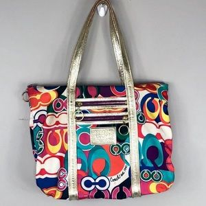 Coach Poppy Multicolored Hand Bag Purse